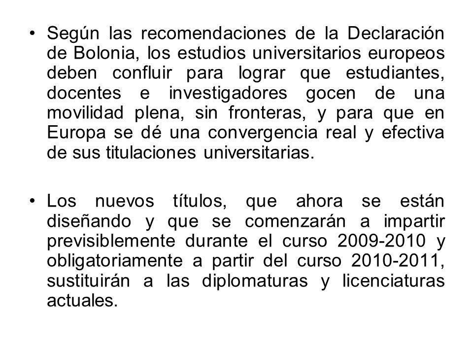 Según las recomendaciones de la Declaración de Bolonia, los estudios universitarios europeos deben confluir para lograr que estudiantes, docentes e in