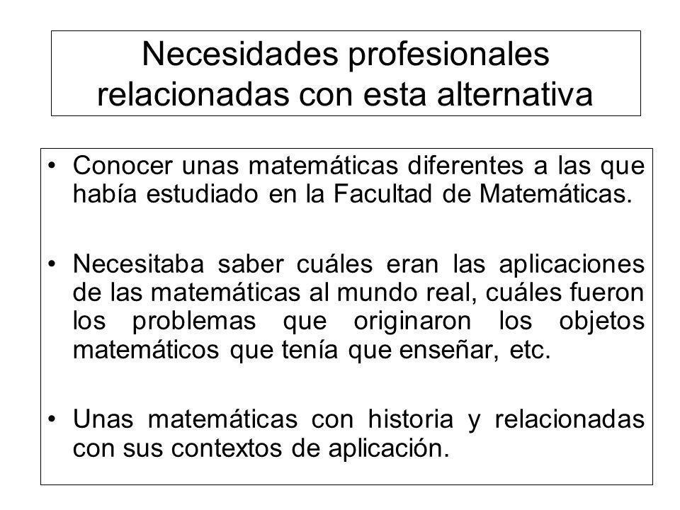 Necesidades profesionales relacionadas con esta alternativa Conocer unas matemáticas diferentes a las que había estudiado en la Facultad de Matemática