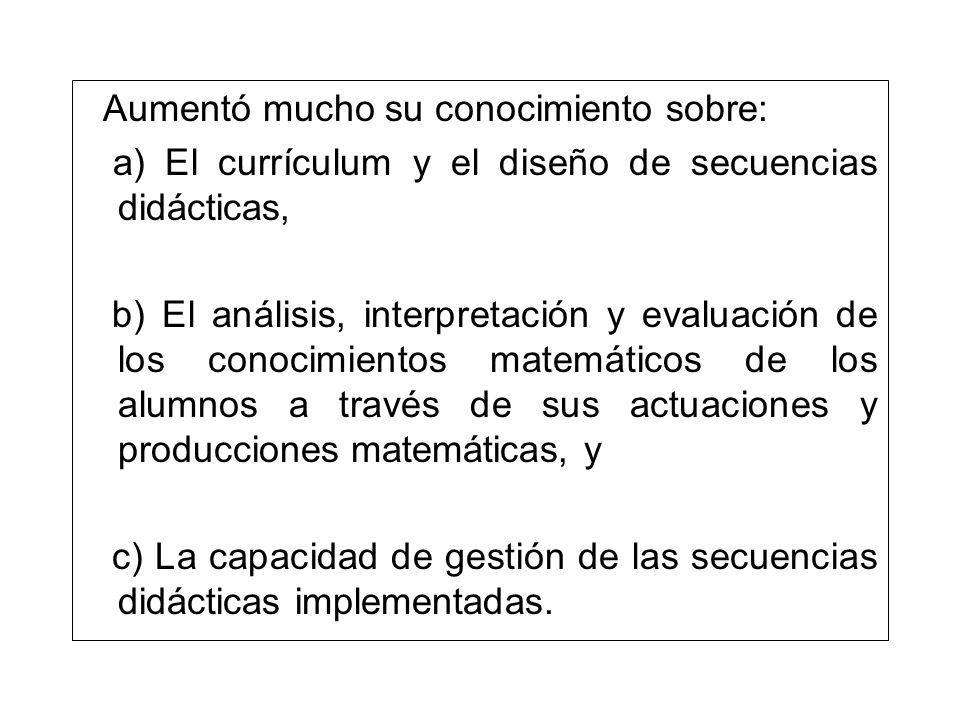 Aumentó mucho su conocimiento sobre: a) El currículum y el diseño de secuencias didácticas, b) El análisis, interpretación y evaluación de los conocim