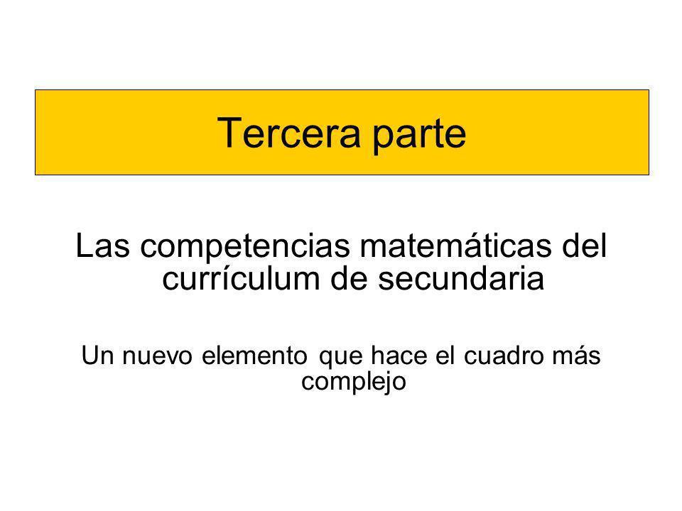 Tercera parte Las competencias matemáticas del currículum de secundaria Un nuevo elemento que hace el cuadro más complejo