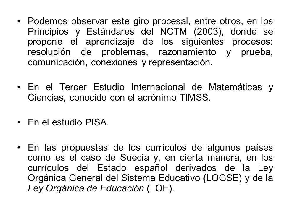Podemos observar este giro procesal, entre otros, en los Principios y Estándares del NCTM (2003), donde se propone el aprendizaje de los siguientes pr