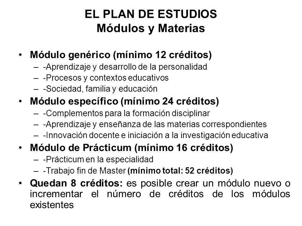 EL PLAN DE ESTUDIOS Módulos y Materias Módulo genérico (mínimo 12 créditos) –-Aprendizaje y desarrollo de la personalidad –-Procesos y contextos educa