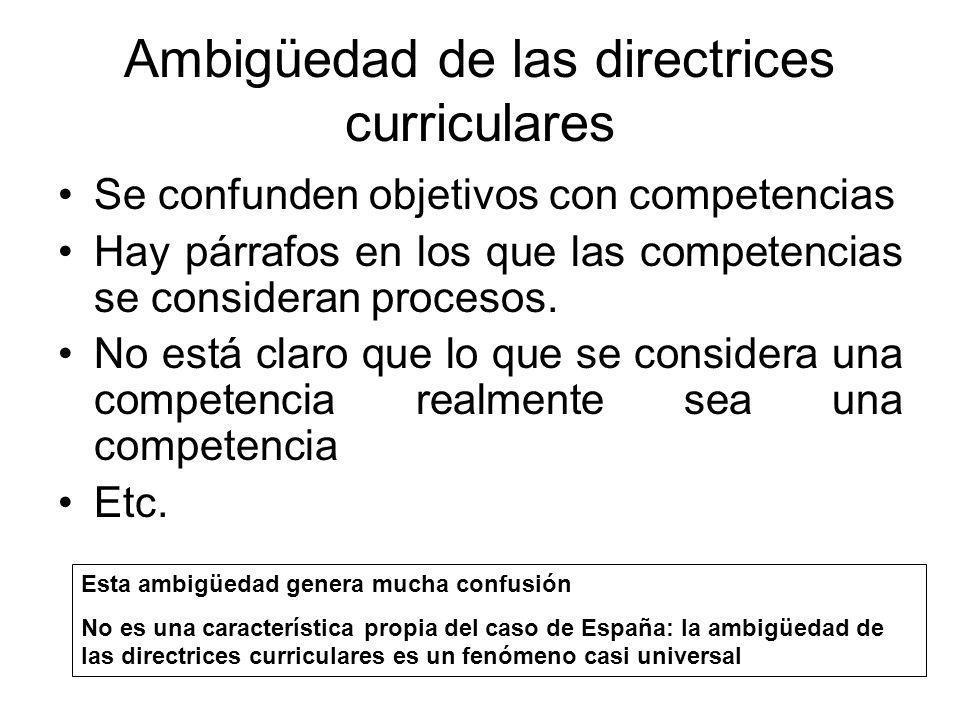 Ambigüedad de las directrices curriculares Se confunden objetivos con competencias Hay párrafos en los que las competencias se consideran procesos. No