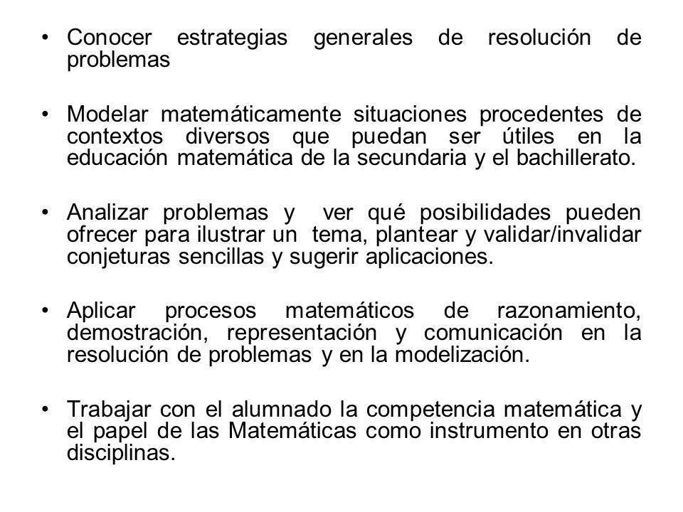 Conocer estrategias generales de resolución de problemas Modelar matemáticamente situaciones procedentes de contextos diversos que puedan ser útiles e