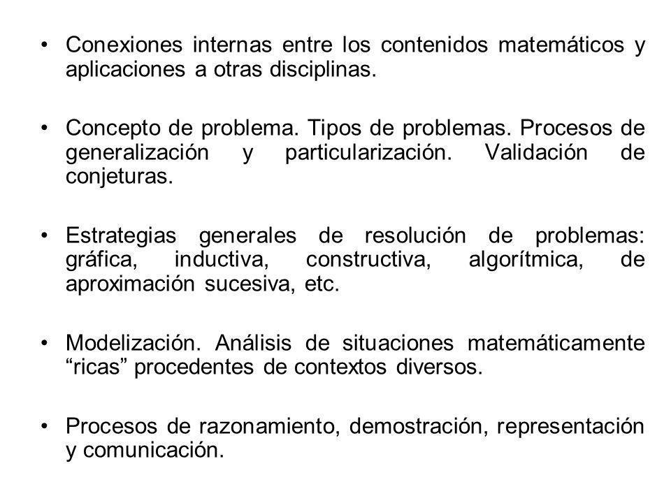 Conexiones internas entre los contenidos matemáticos y aplicaciones a otras disciplinas. Concepto de problema. Tipos de problemas. Procesos de general