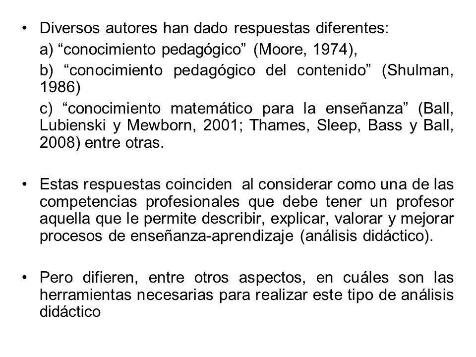 Diversos autores han dado respuestas diferentes: a) conocimiento pedagógico (Moore, 1974), b) conocimiento pedagógico del contenido (Shulman, 1986) c)