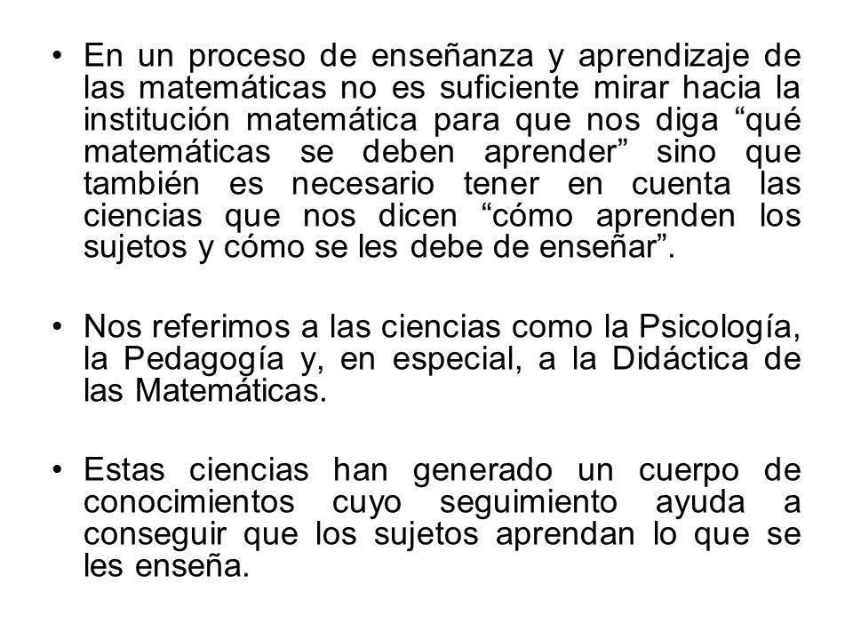 En un proceso de enseñanza y aprendizaje de las matemáticas no es suficiente mirar hacia la institución matemática para que nos diga qué matemáticas s