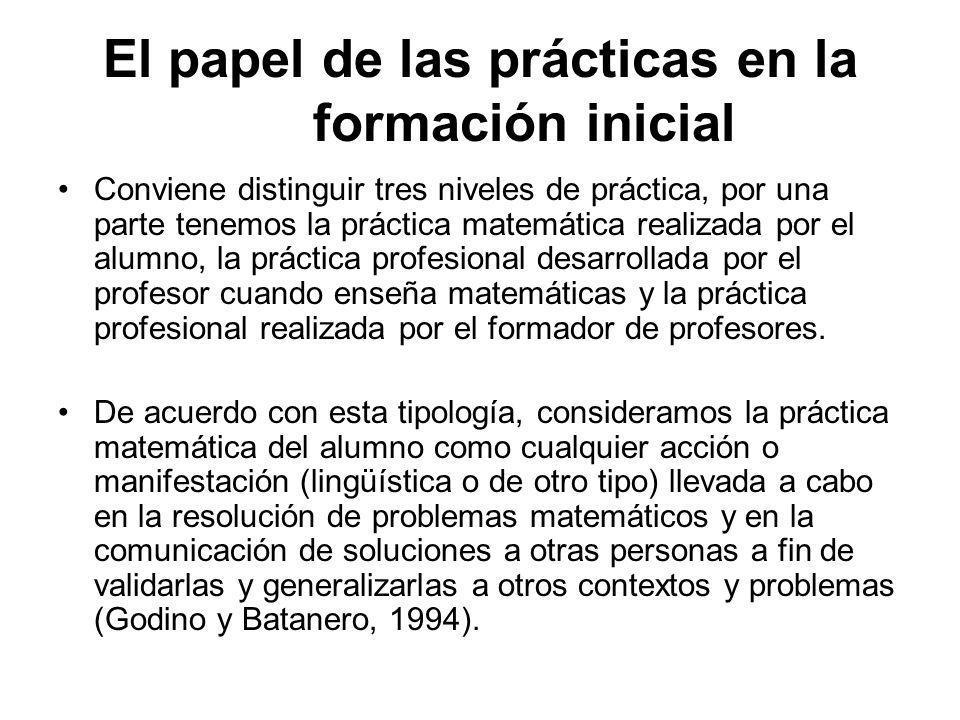 El papel de las prácticas en la formación inicial Conviene distinguir tres niveles de práctica, por una parte tenemos la práctica matemática realizada