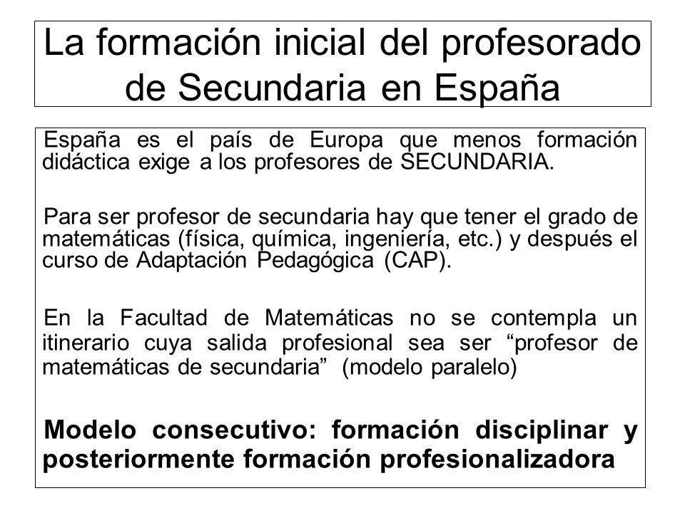 España es el país de Europa que menos formación didáctica exige a los profesores de SECUNDARIA. Para ser profesor de secundaria hay que tener el grado