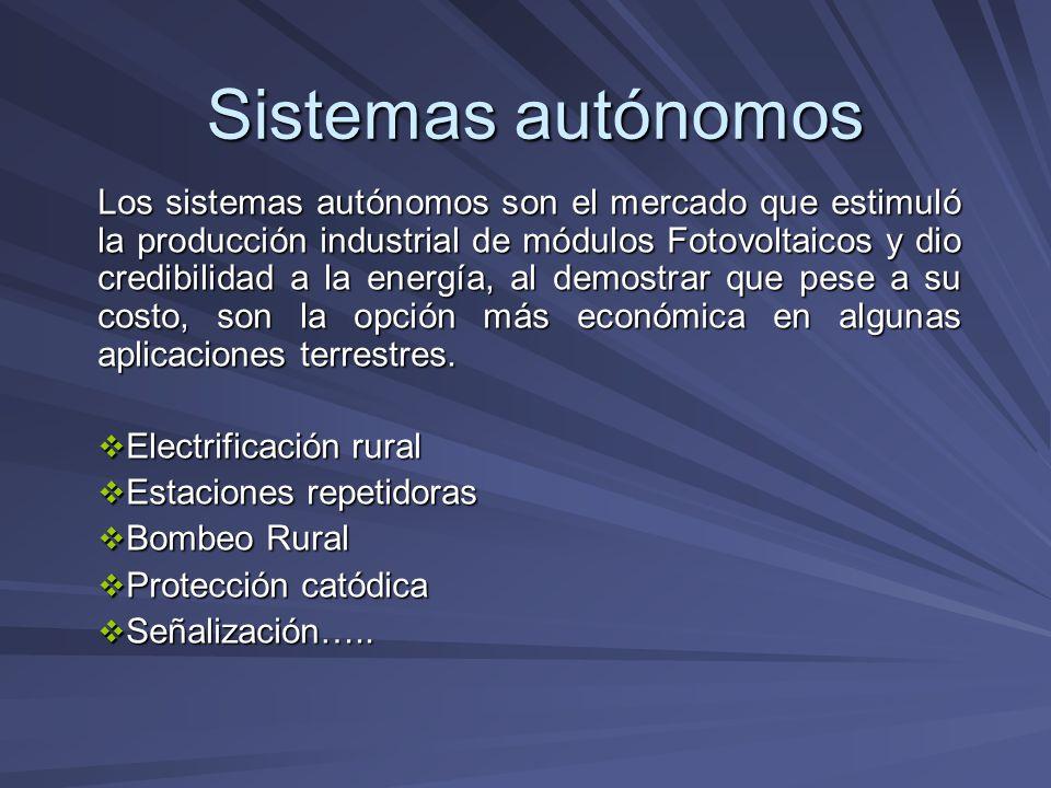 Sistemas autónomos Los sistemas autónomos son el mercado que estimuló la producción industrial de módulos Fotovoltaicos y dio credibilidad a la energí