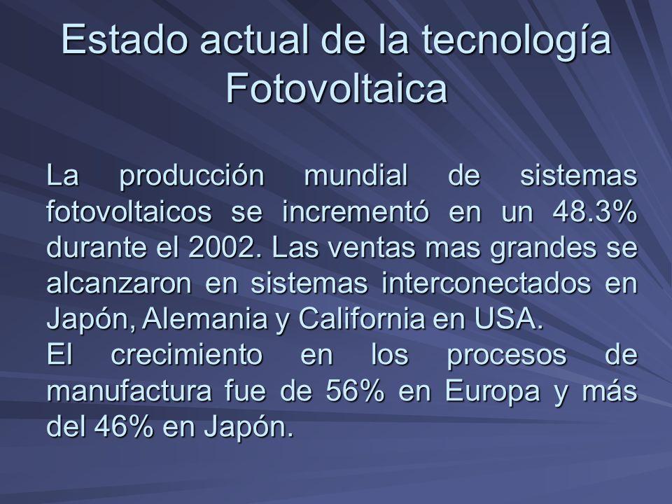Estado actual de la tecnología Fotovoltaica La producción mundial de sistemas fotovoltaicos se incrementó en un 48.3% durante el 2002. Las ventas mas
