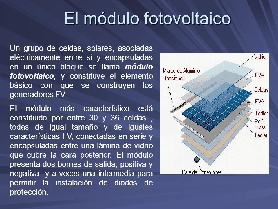 El módulo fotovoltaico Un grupo de celdas, solares, asociadas eléctricamente entre sí y encapsuladas en un único bloque se llama módulo fotovoltaico,