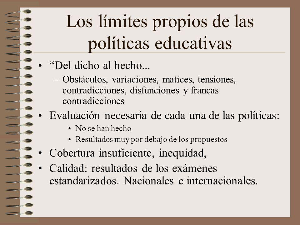 Los límites propios de las políticas educativas Del dicho al hecho... –Obstáculos, variaciones, matices, tensiones, contradicciones, disfunciones y fr
