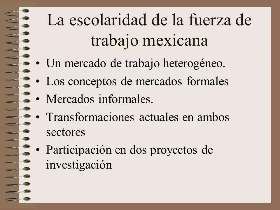 La escolaridad de la fuerza de trabajo mexicana Un mercado de trabajo heterogéneo. Los conceptos de mercados formales Mercados informales. Transformac