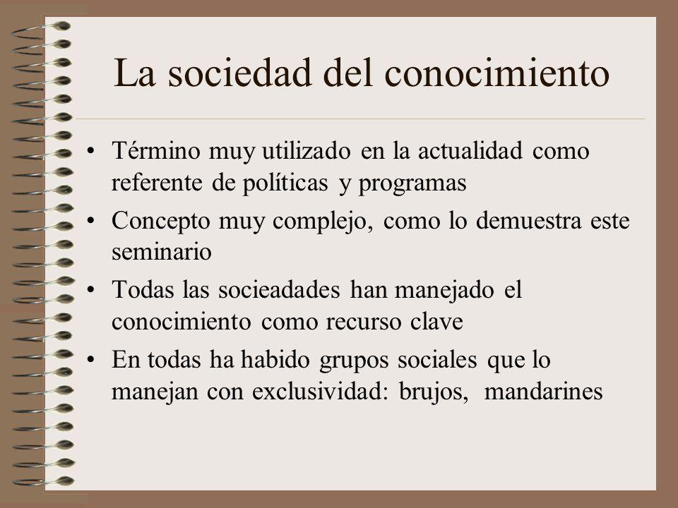 La sociedad del conocimiento Término muy utilizado en la actualidad como referente de políticas y programas Concepto muy complejo, como lo demuestra e