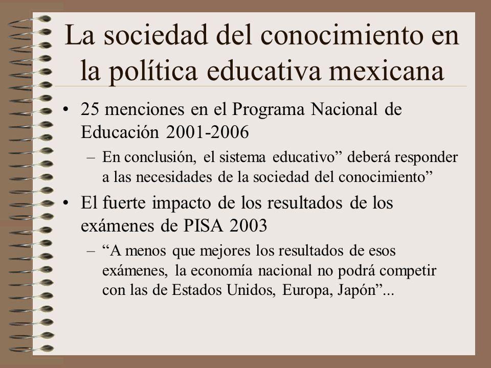 La sociedad del conocimiento en la política educativa mexicana 25 menciones en el Programa Nacional de Educación 2001-2006 –En conclusión, el sistema