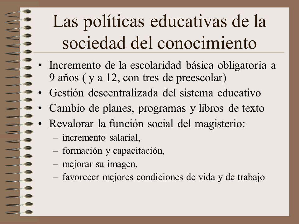 Las políticas educativas de la sociedad del conocimiento Incremento de la escolaridad básica obligatoria a 9 años ( y a 12, con tres de preescolar) Ge