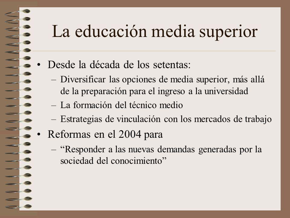 La educación media superior Desde la década de los setentas: –Diversificar las opciones de media superior, más allá de la preparación para el ingreso