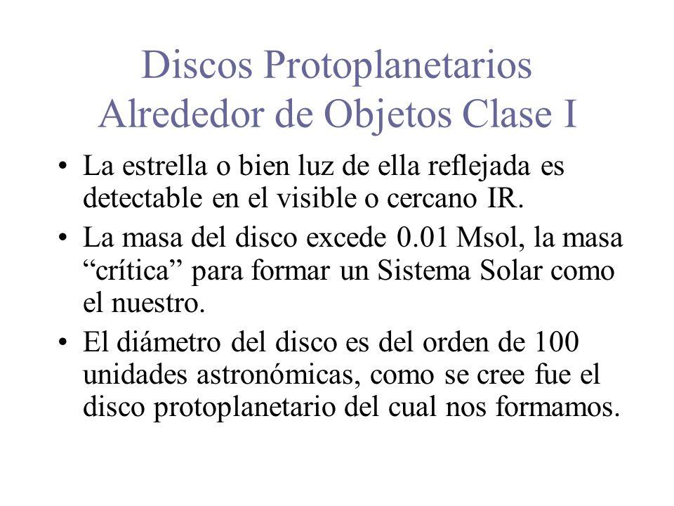 Discos Protoplanetarios Alrededor de Objetos Clase I La estrella o bien luz de ella reflejada es detectable en el visible o cercano IR.
