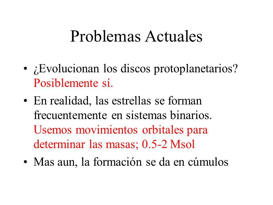 Problemas Actuales ¿Evolucionan los discos protoplanetarios.