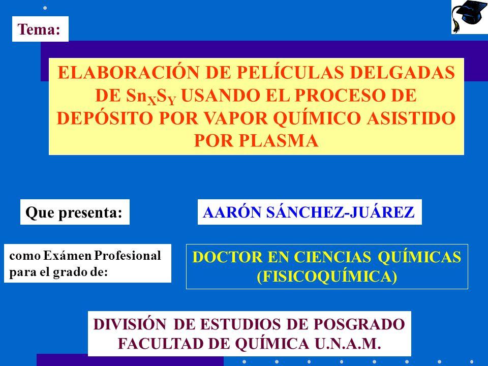 Tema: ELABORACIÓN DE PELÍCULAS DELGADAS DE Sn X S Y USANDO EL PROCESO DE DEPÓSITO POR VAPOR QUÍMICO ASISTIDO POR PLASMA Que presenta:AARÓN SÁNCHEZ-JUÁ