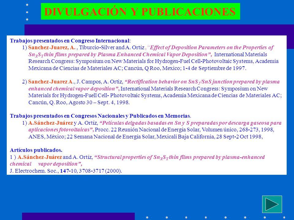 DIVULGACIÓN Y PUBLICACIONES Trabajos presentados en Congreso Internacional: 1) Sanchez-Juarez, A., Tiburcio-Silver and A. Ortíz,Effect of Deposition P