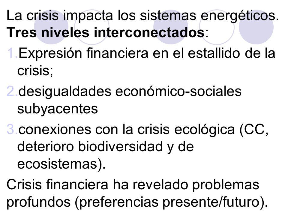 2 – Crecimiento en la crisis global: los países emergentes * Carácterísticas de esos países *Necesidad de un enfoque dinámico: * nuevas necesidades de servicios energéticos.
