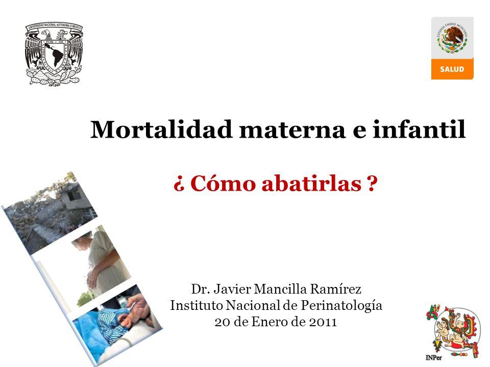 O4M5-14 Reducir mortalidad infantil O4M5-14 Reducir mortalidad infantil Estrategia 2.6 del Programa Nacional de Salud 2007-2012 METAS DE DESARROLLO DEL MILENIO Fortalecer las políticas de salud materna y perinatal 2009 62 Ritmo Anual -8.15 puntos 2009 62 Ritmo Anual -8.15 puntos Afecciones originadas en periodo perinatal >60% en el primer mes de vida Afecciones originadas en periodo perinatal >60% en el primer mes de vida Muertes infantiles en <1 año 79% son evitables Muertes infantiles en <1 año 79% son evitables Año RMM 2015 22 x100,000 RNV Año RMM 2015 22 x100,000 RNV O5M6-16 Reducir mortalidad materna O5M6-16 Reducir mortalidad materna