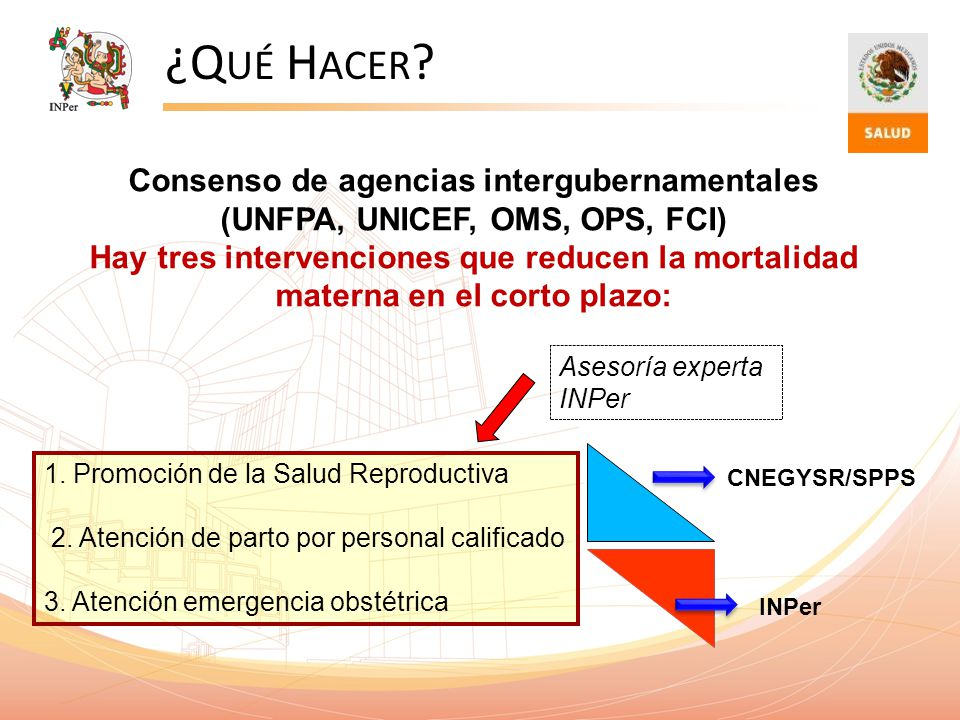 ¿Q UÉ H ACER ? 1. Promoción de la Salud Reproductiva 2. Atención de parto por personal calificado 3. Atención emergencia obstétrica Consenso de agenci