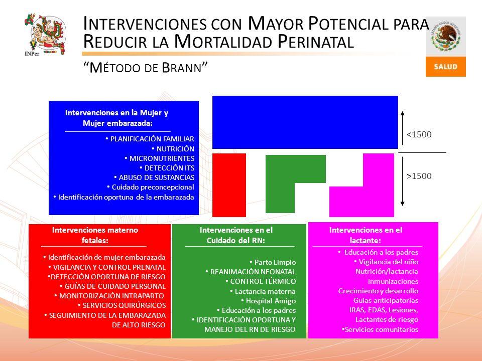 I NTERVENCIONES CON M AYOR P OTENCIAL PARA R EDUCIR LA M ORTALIDAD P ERINATAL M ÉTODO DE B RANN PLANIFICACIÓN FAMILIAR NUTRICIÓN MICRONUTRIENTES DETEC