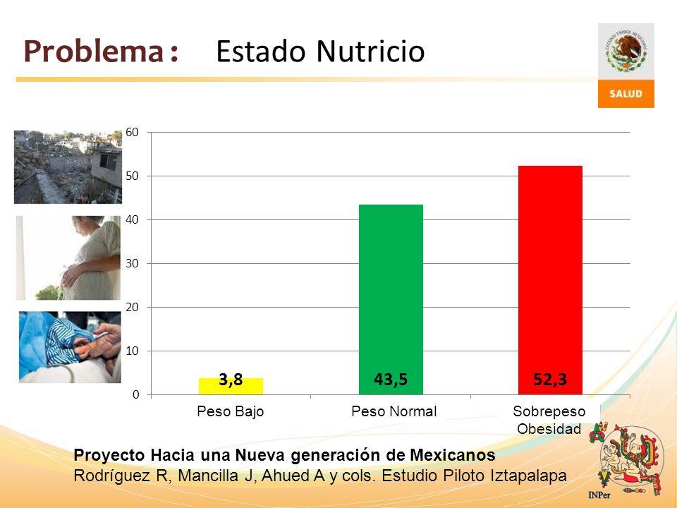 Problema : Estado Nutricio Peso BajoPeso NormalSobrepeso Obesidad Proyecto Hacia una Nueva generación de Mexicanos Rodríguez R, Mancilla J, Ahued A y