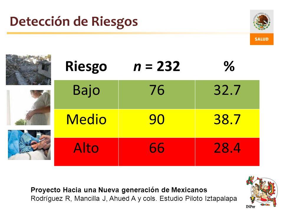 Detección de Riesgos Riesgon = 232 % Bajo7632.7 Medio9038.7 Alto6628.4 Proyecto Hacia una Nueva generación de Mexicanos Rodríguez R, Mancilla J, Ahued