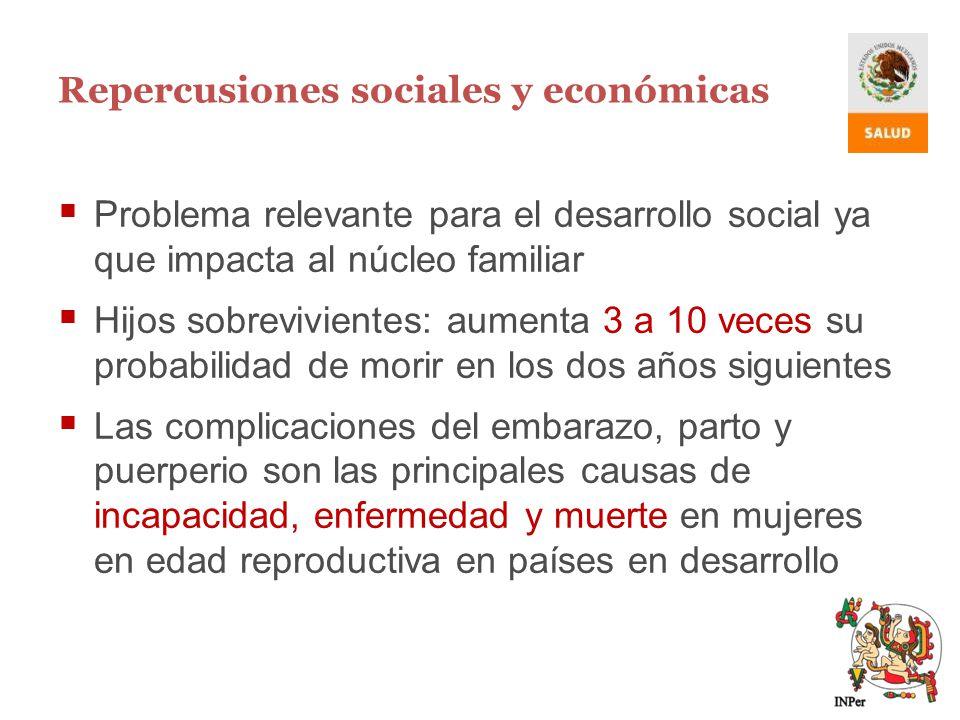 Repercusiones sociales y económicas Problema relevante para el desarrollo social ya que impacta al núcleo familiar Hijos sobrevivientes: aumenta 3 a 1