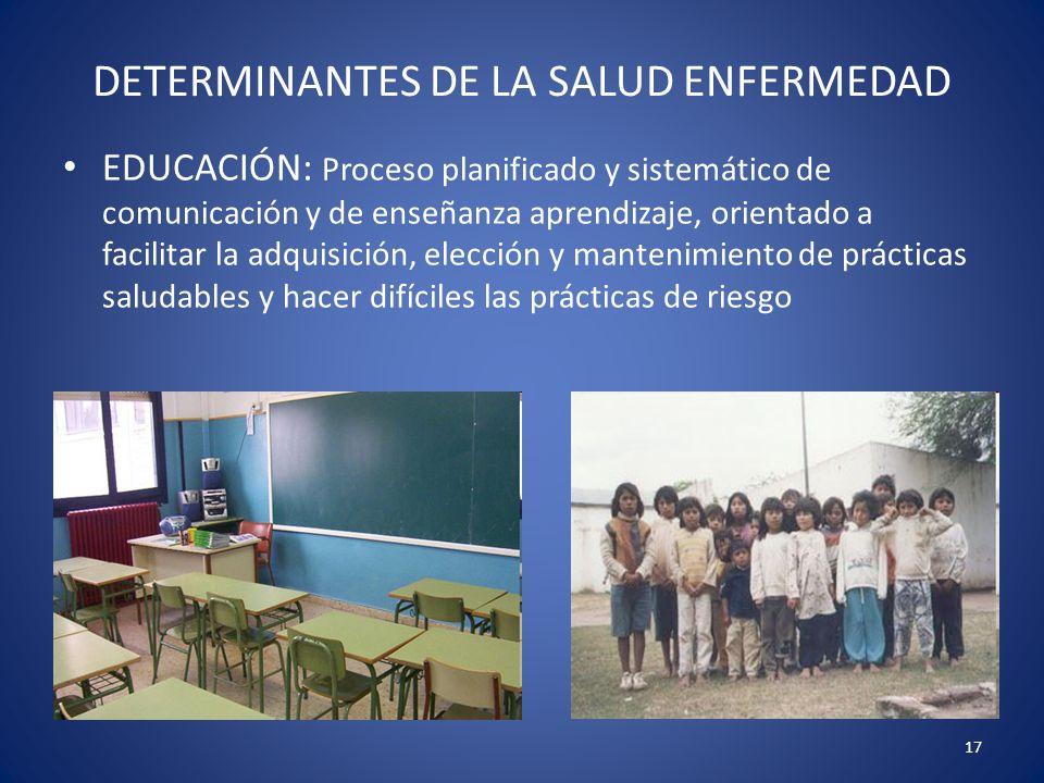 17 DETERMINANTES DE LA SALUD ENFERMEDAD EDUCACIÓN: Proceso planificado y sistemático de comunicación y de enseñanza aprendizaje, orientado a facilitar