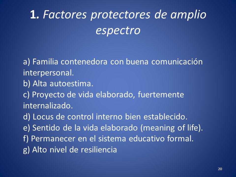 20 1. Factores protectores de amplio espectro a) Familia contenedora con buena comunicación interpersonal. b) Alta autoestima. c) Proyecto de vida ela