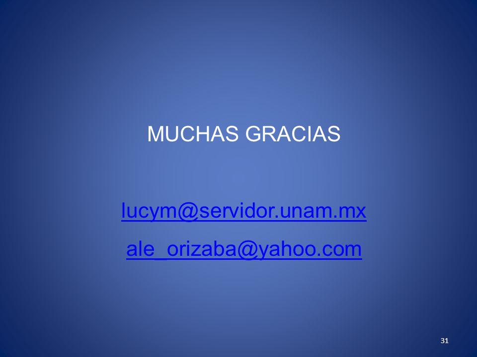31 MUCHAS GRACIAS lucym@servidor.unam.mx ale_orizaba@yahoo.com