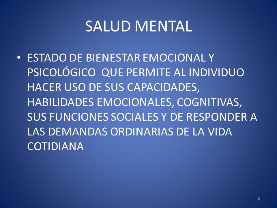 5 SALUD MENTAL ESTADO DE BIENESTAR EMOCIONAL Y PSICOLÓGICO QUE PERMITE AL INDIVIDUO HACER USO DE SUS CAPACIDADES, HABILIDADES EMOCIONALES, COGNITIVAS,