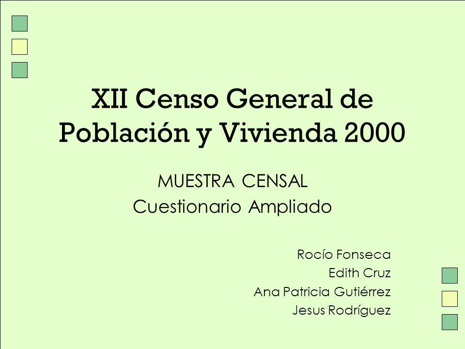 XII Censo General de Población y Vivienda 2000 MUESTRA CENSAL Cuestionario Ampliado Rocío Fonseca Edith Cruz Ana Patricia Gutiérrez Jesus Rodríguez