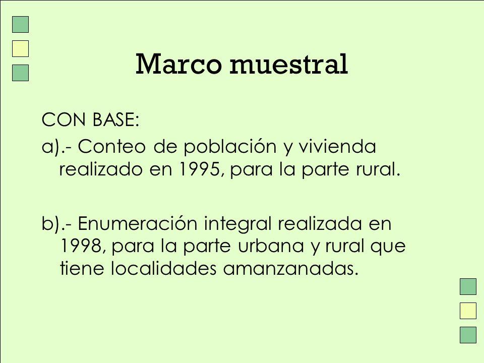 Marco muestral CON BASE: a).- Conteo de población y vivienda realizado en 1995, para la parte rural. b).- Enumeración integral realizada en 1998, para