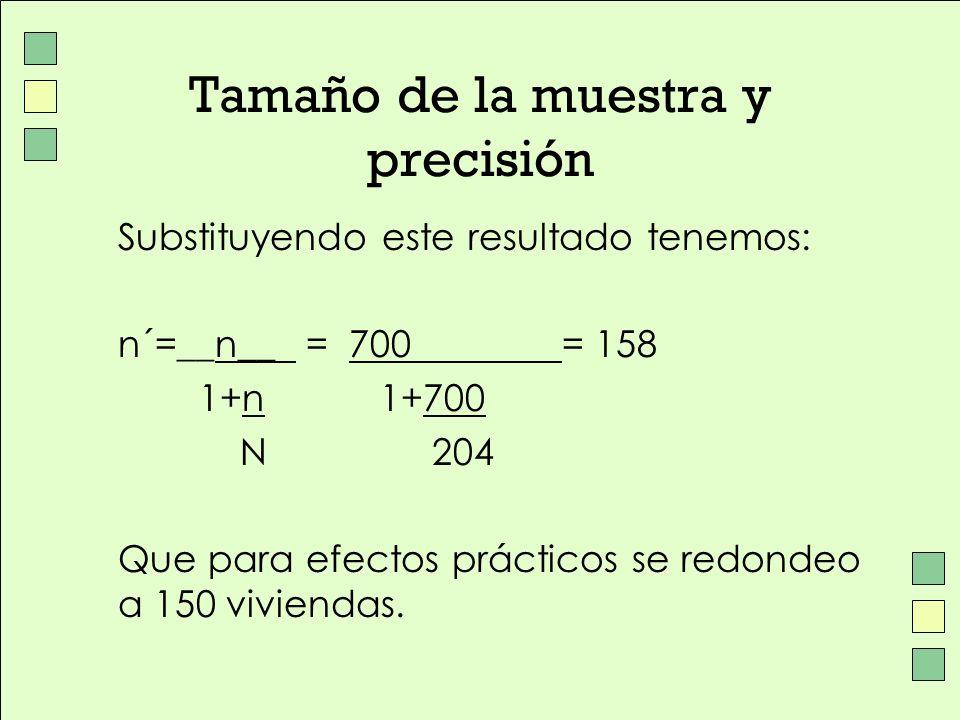 Tamaño de la muestra y precisión Substituyendo este resultado tenemos: n´=__n__ = 700= 158 1+n 1+700 N 204 Que para efectos prácticos se redondeo a 15
