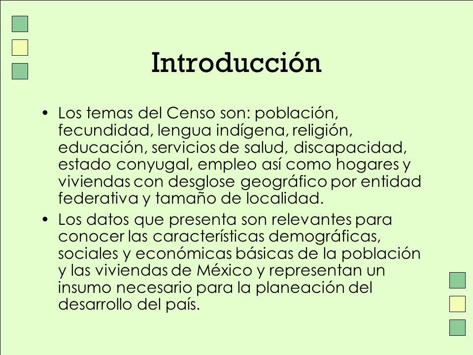 Introducción Los temas del Censo son: población, fecundidad, lengua indígena, religión, educación, servicios de salud, discapacidad, estado conyugal,