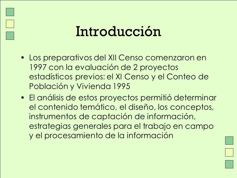 Introducción Los preparativos del XII Censo comenzaron en 1997 con la evaluación de 2 proyectos estadísticos previos: el XI Censo y el Conteo de Pobla