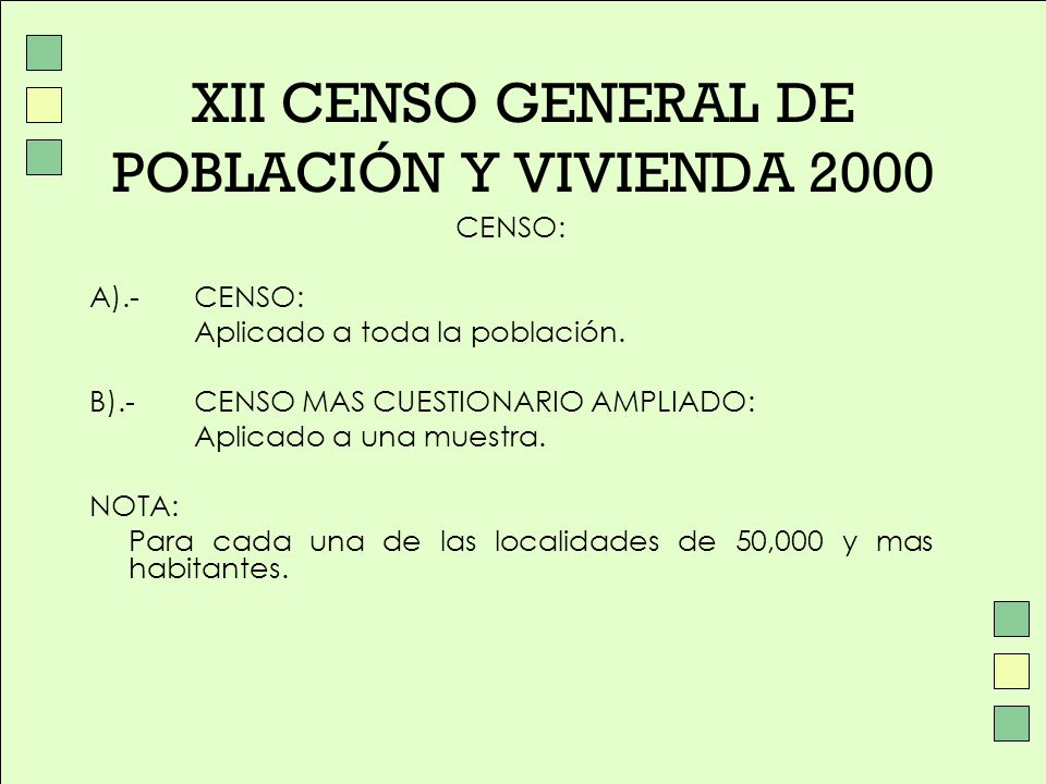 XII CENSO GENERAL DE POBLACIÓN Y VIVIENDA 2000 CENSO: A).- CENSO: Aplicado a toda la población. B).- CENSO MAS CUESTIONARIO AMPLIADO: Aplicado a una m