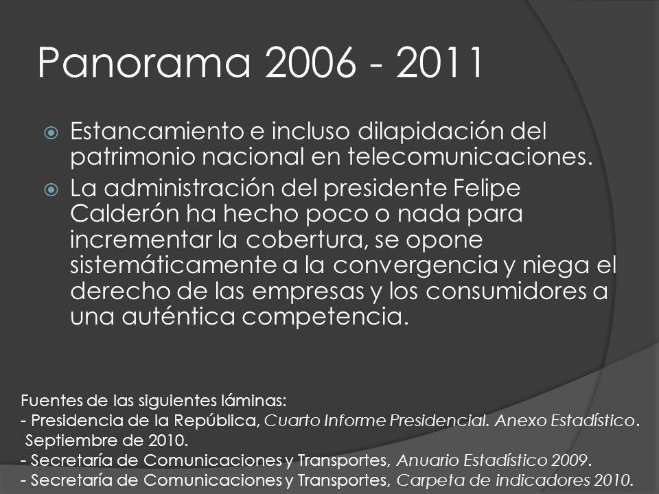 Panorama 2006 - 2011 Estancamiento e incluso dilapidación del patrimonio nacional en telecomunicaciones.