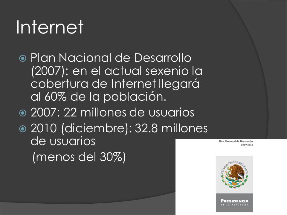 Internet Plan Nacional de Desarrollo (2007): en el actual sexenio la cobertura de Internet llegará al 60% de la población.