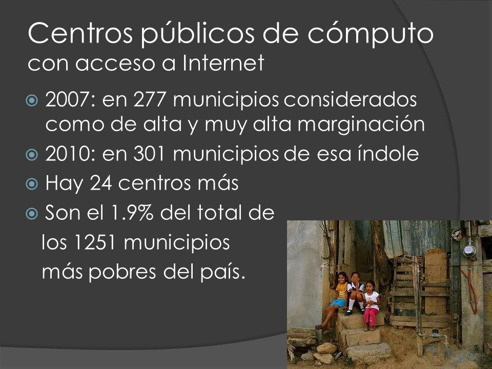 Centros públicos de cómputo con acceso a Internet 2007: en 277 municipios considerados como de alta y muy alta marginación 2010: en 301 municipios de esa índole Hay 24 centros más Son el 1.9% del total de los 1251 municipios más pobres del país.