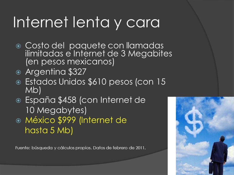 Internet lenta y cara Costo del paquete con llamadas ilimitadas e Internet de 3 Megabites (en pesos mexicanos) Argentina $327 Estados Unidos $610 pesos (con 15 Mb) España $458 (con Internet de 10 Megabytes) México $999 (Internet de hasta 5 Mb) Fuente: búsqueda y cálculos propios.