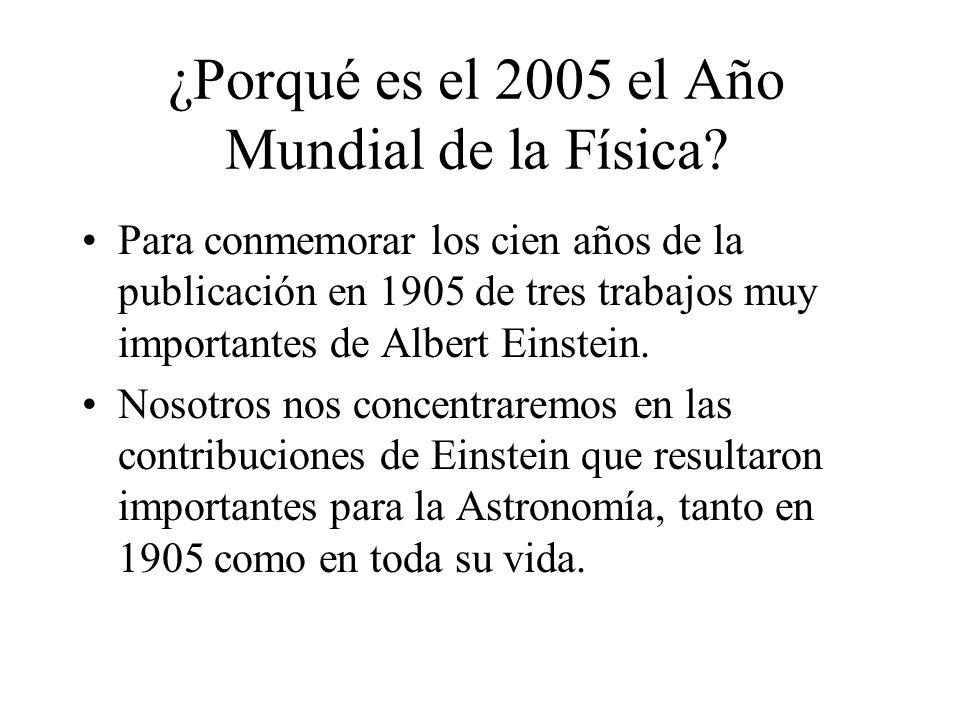 ¿Porqué es el 2005 el Año Mundial de la Física? Para conmemorar los cien años de la publicación en 1905 de tres trabajos muy importantes de Albert Ein
