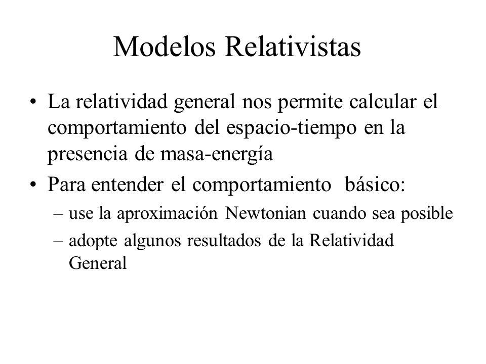 La relatividad general nos permite calcular el comportamiento del espacio-tiempo en la presencia de masa-energía Para entender el comportamiento básic
