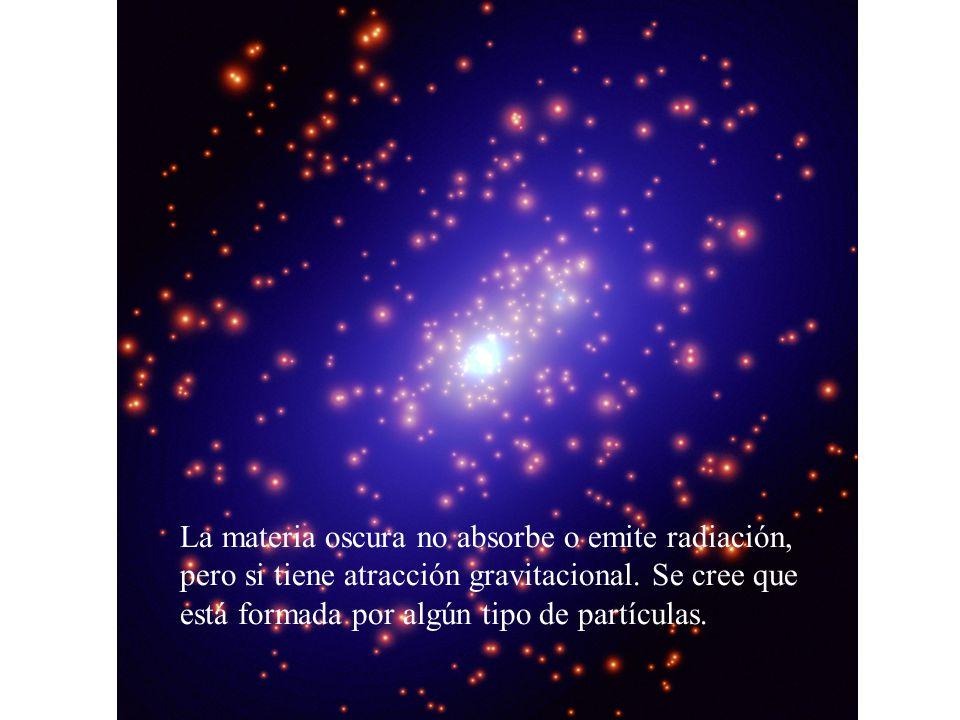 La materia oscura no absorbe o emite radiación, pero si tiene atracción gravitacional. Se cree que está formada por algún tipo de partículas.